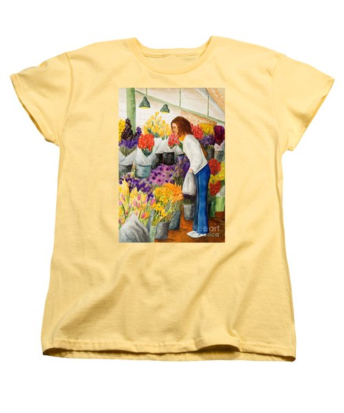 Women's T-Shirt (Standard Cut) featuring the painting Shopping Pike's Market by Vicki  Housel
