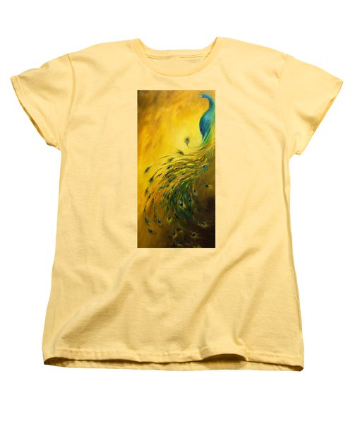 Women's T-Shirt (Standard Cut) featuring the painting Show Off 1 Vertical Peacock by Dina Dargo