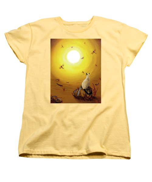 Siamese Cat With Red Dragonflies Women's T-Shirt (Standard Cut) by Laura Iverson