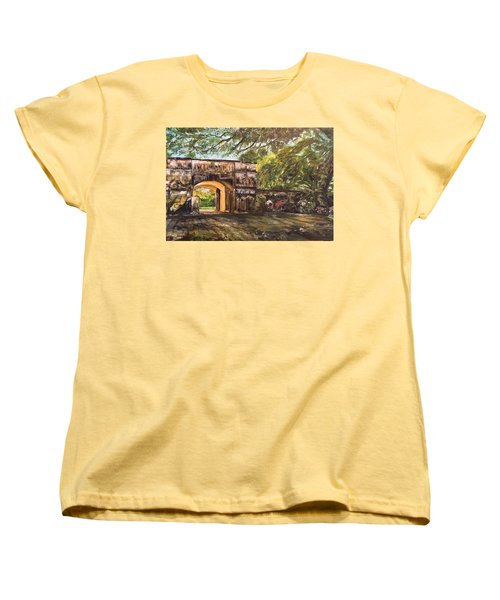 Women's T-Shirt (Standard Cut) featuring the painting Silence Is Golden by Belinda Low