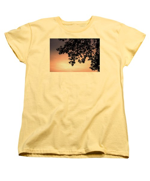 Silhouette Tree In The Dawn Sky Women's T-Shirt (Standard Cut) by Jingjits Photography