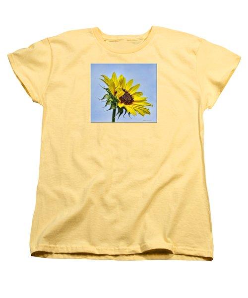 Single Sunflower Women's T-Shirt (Standard Cut) by Mikki Cucuzzo