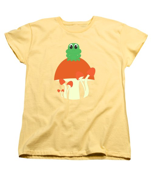 Small Frog Sitting On A Mushroom  Women's T-Shirt (Standard Cut) by Kourai