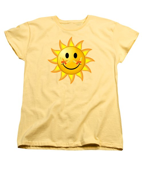 Smiley Face Sun Women's T-Shirt (Standard Cut) by Robert G Kernodle