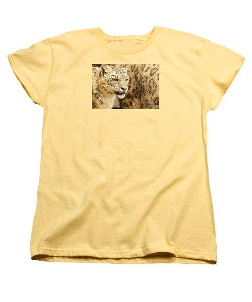 Snow Leopard  Women's T-Shirt (Standard Cut) by Gary Bridger