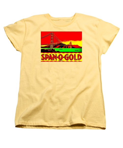 Women's T-Shirt (Standard Cut) featuring the painting Span O Gold Golden Gate Bridge by Peter Gumaer Ogden