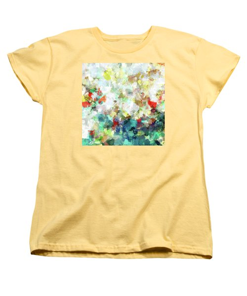 Women's T-Shirt (Standard Cut) featuring the painting Spring Abstract Art / Vivid Colors by Ayse Deniz