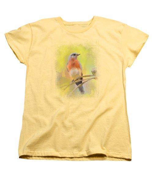 Spring Bluebird Painting Women's T-Shirt (Standard Cut) by Jai Johnson