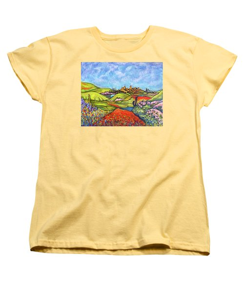 Women's T-Shirt (Standard Cut) featuring the painting Spring Breeze by Rae Chichilnitsky
