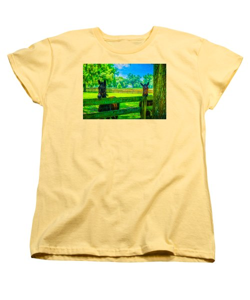 Women's T-Shirt (Standard Cut) featuring the painting Spring Colts by Louis Ferreira