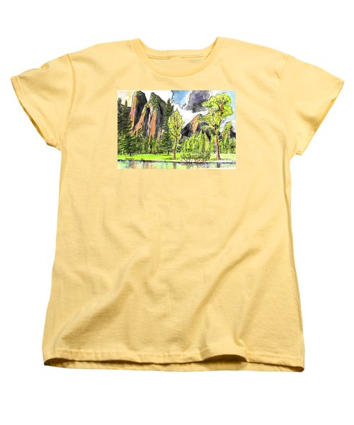Women's T-Shirt (Standard Cut) featuring the painting Spring In Yosemite by Terry Banderas