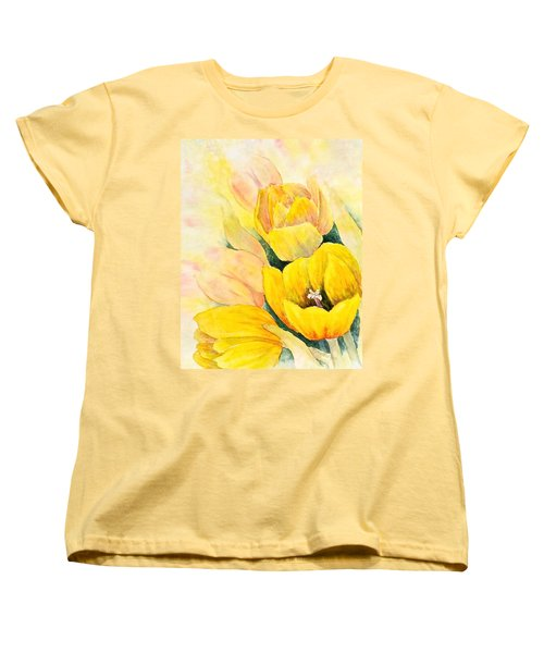 Women's T-Shirt (Standard Cut) featuring the painting Spring Tulips by Carolyn Rosenberger