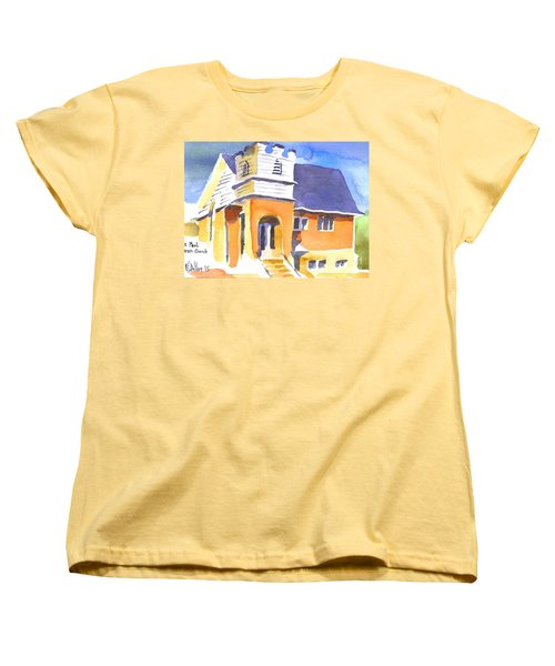 Women's T-Shirt (Standard Cut) featuring the painting St. Paul Lutheran 3 Impressions by Kip DeVore