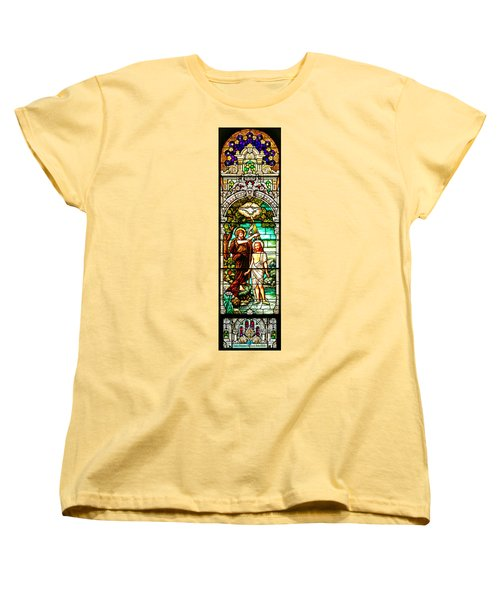 Women's T-Shirt (Standard Cut) featuring the photograph Stained Glass Scene 2 Crop by Adam Jewell