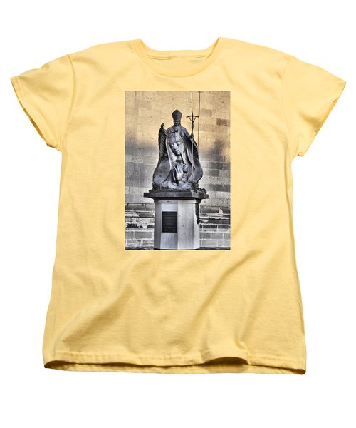 Women's T-Shirt (Standard Cut) featuring the photograph Statue Of Pope John Paul by Jim Walls PhotoArtist
