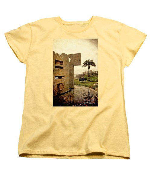 Women's T-Shirt (Standard Cut) featuring the photograph Stelae In The Park - Miraflores Peru by Mary Machare