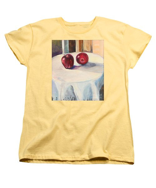 Women's T-Shirt (Standard Cut) featuring the painting Still Life With Apples by Daun Soden-Greene