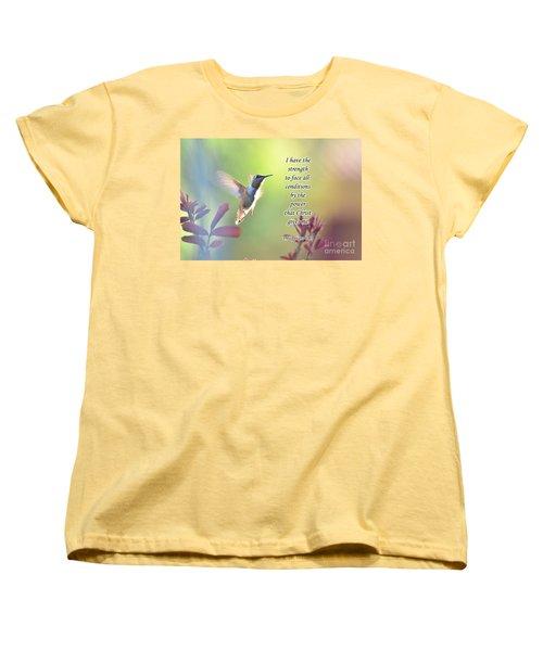 Strength Through Christ Women's T-Shirt (Standard Cut) by Debby Pueschel