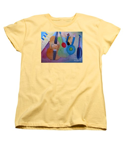 Women's T-Shirt (Standard Cut) featuring the painting Strings by Sandy McIntire