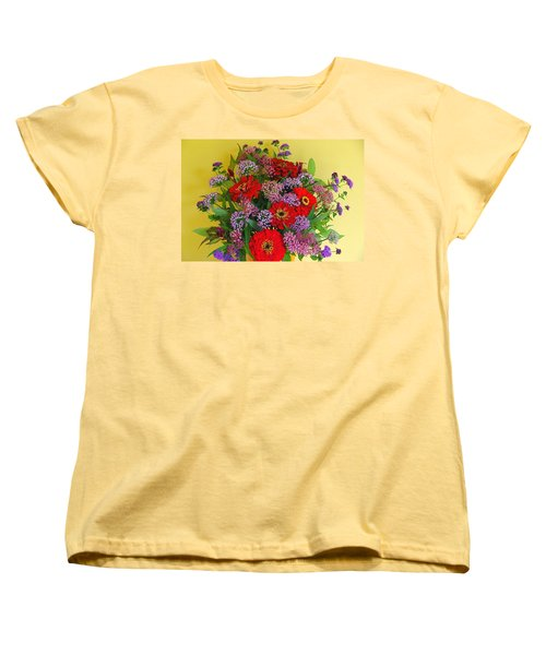 Women's T-Shirt (Standard Cut) featuring the photograph Summer Flower Bouquet by Byron Varvarigos