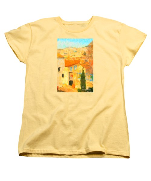 Women's T-Shirt (Standard Cut) featuring the painting Summer In Athens by Chris Armytage