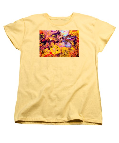 Summer Play  - Abstract Colorful Mixed Media Painting Women's T-Shirt (Standard Cut) by Modern Art Prints