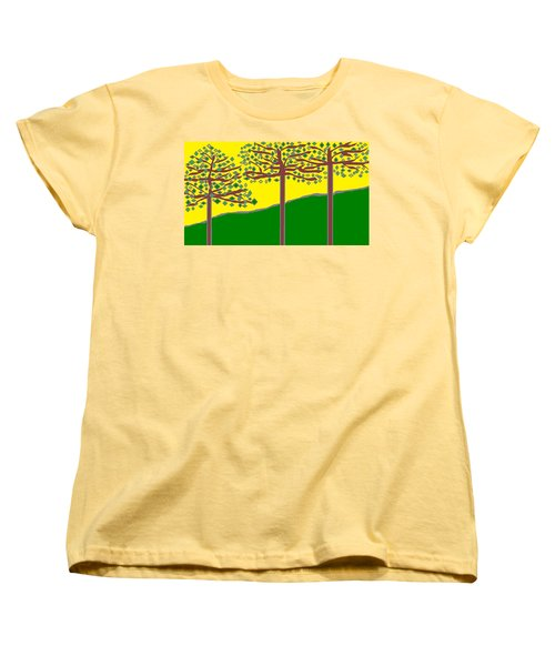 Summer Stained Glass 2 Women's T-Shirt (Standard Cut) by Linda Velasquez