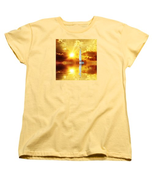 Women's T-Shirt (Standard Cut) featuring the mixed media Summer Sun And Fun by Gabriella Weninger - David