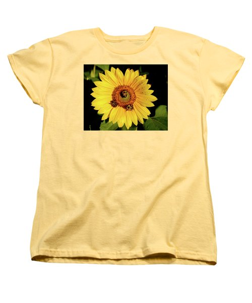 Sunflower And Bees Women's T-Shirt (Standard Cut) by Nancy Landry