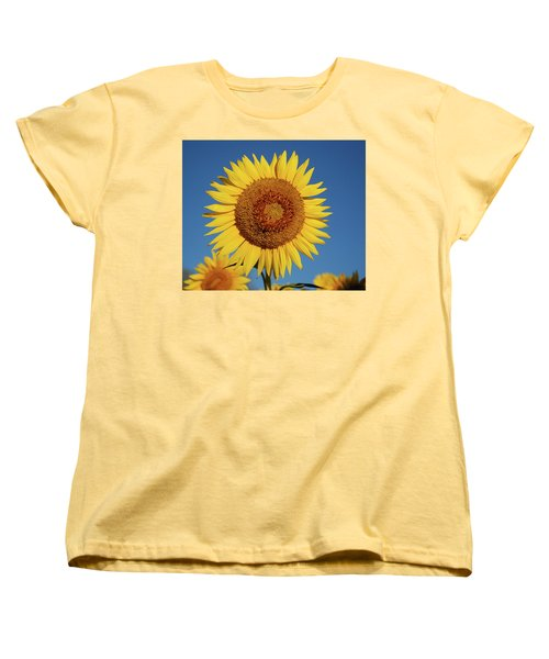 Sunflower And Blue Sky Women's T-Shirt (Standard Cut) by Nancy Landry