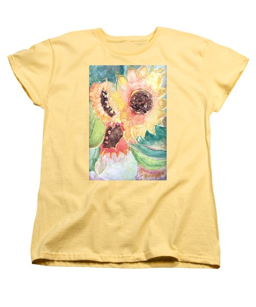 Women's T-Shirt (Standard Cut) featuring the painting Sunflower Glory by Renate Nadi Wesley
