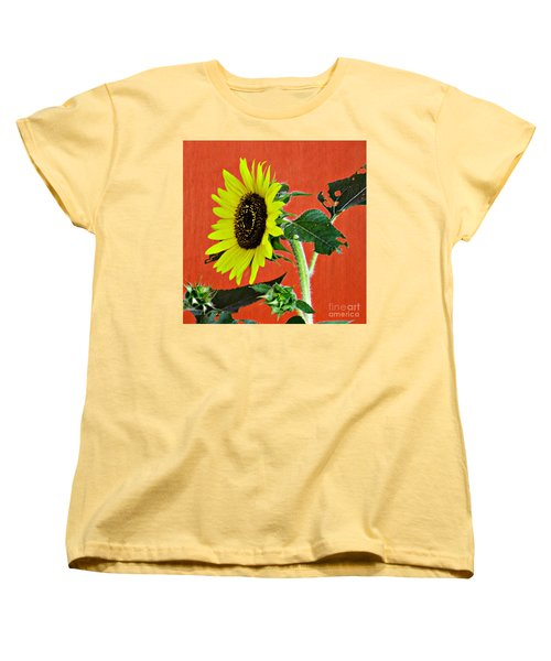 Women's T-Shirt (Standard Cut) featuring the photograph Sunflower On Red 2 by Sarah Loft