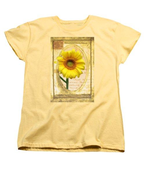 Sunflower On Vintage Postcard Women's T-Shirt (Standard Cut) by Nina Silver