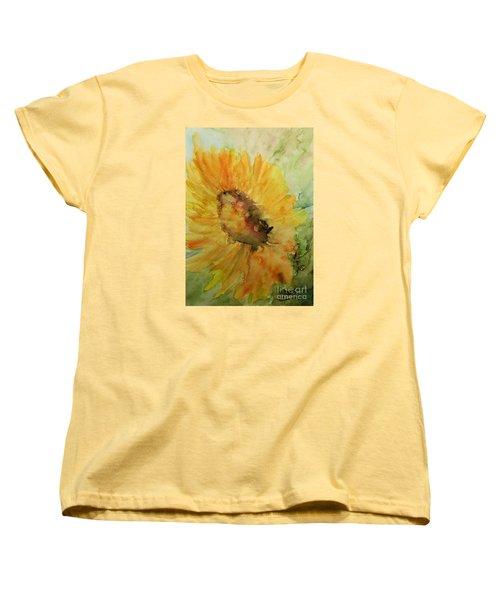 Sunflower Watercolor Women's T-Shirt (Standard Cut) by AmaS Art