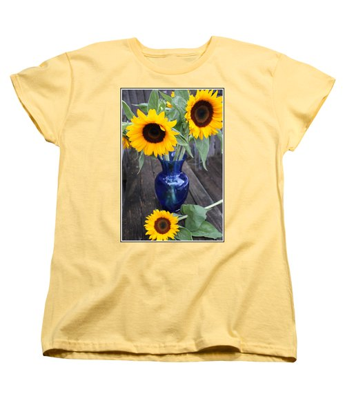 Sunflowers And Blue Vase - Still Life Women's T-Shirt (Standard Cut) by Dora Sofia Caputo Photographic Art and Design