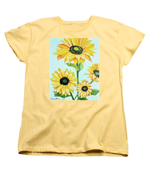 Sunflowers  Women's T-Shirt (Standard Cut) by Donna Blossom