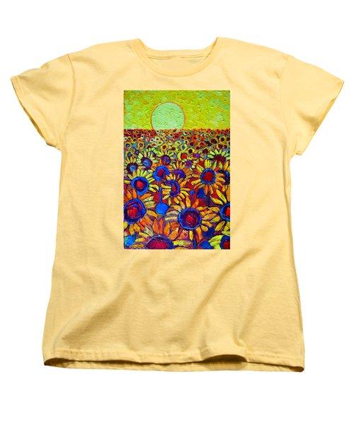 Sunflowers Field At Sunrise Women's T-Shirt (Standard Cut) by Ana Maria Edulescu