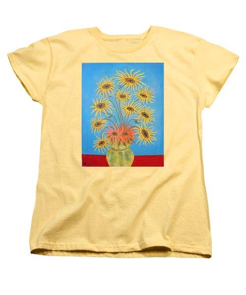 Sunflowers On Blue Women's T-Shirt (Standard Cut) by Marie Schwarzer