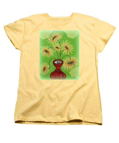 Sunflowers On Green Women's T-Shirt (Standard Cut) by Marie Schwarzer