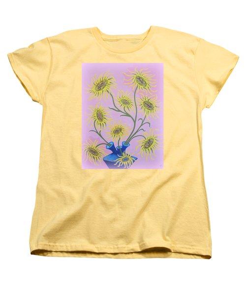 Sunflowers On Pink Women's T-Shirt (Standard Cut) by Marie Schwarzer