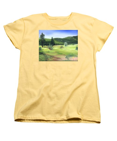 Women's T-Shirt (Standard Cut) featuring the painting Sunlit Mountain Meadow by Jane Autry