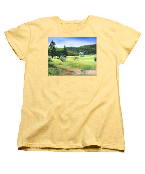 Sunlit Mountain Meadow Women's T-Shirt (Standard Cut) by Jane Autry