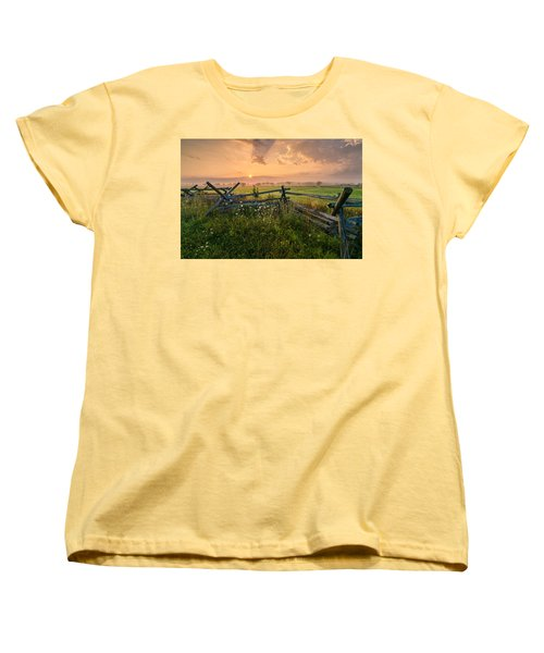 Sunrise At Gettysburg National Park Women's T-Shirt (Standard Cut) by Craig Szymanski