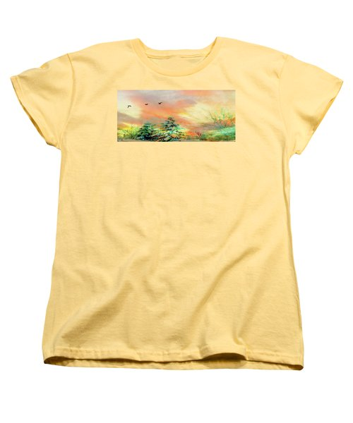 Women's T-Shirt (Standard Cut) featuring the painting Sunset At Winter Wonderland by Mike Breau
