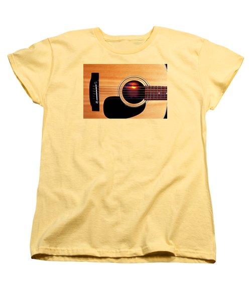 Sunset In Guitar Women's T-Shirt (Standard Cut) by Garry Gay