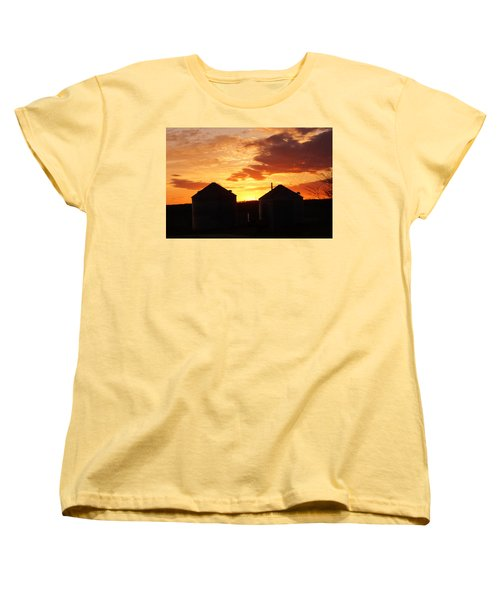 Women's T-Shirt (Standard Cut) featuring the digital art Sunset Silos by Jana Russon