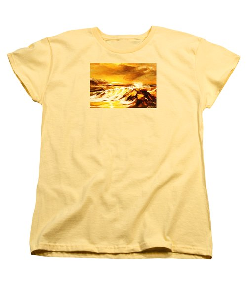 Women's T-Shirt (Standard Cut) featuring the painting Sunset Surf by Al Brown