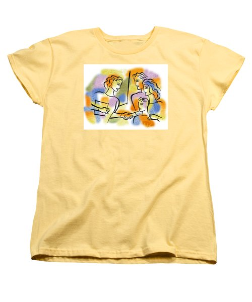 Women's T-Shirt (Standard Cut) featuring the painting Support And Family Assistance by Leon Zernitsky