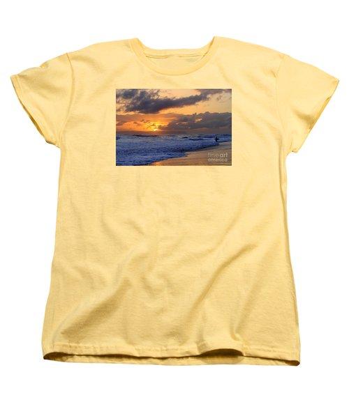 Surfer At Sunset On Kauai Beach With Niihau On Horizon Women's T-Shirt (Standard Cut) by Catherine Sherman