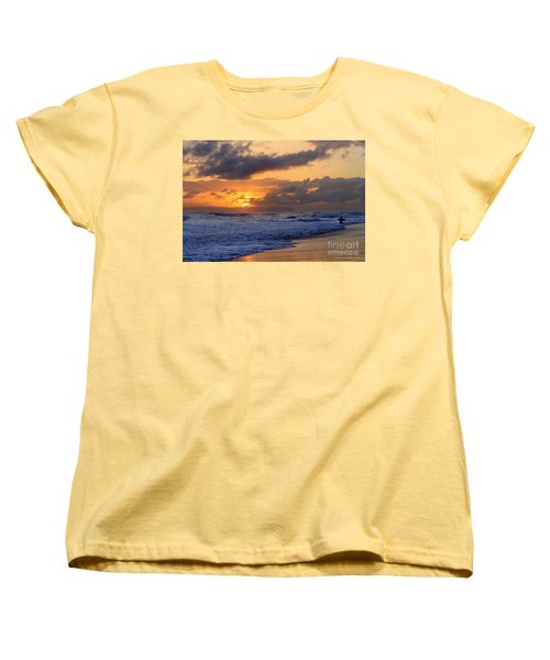 Surfer At Sunset On Kauai Beach With Niihau On Horizon Women's T-Shirt (Standard Cut)